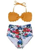 Tempt Me Women High Waisted Two Piece Swimsuits Sexy Bandeau Halter Bikini Set