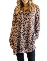 Maysoar Women's Leopard Print V Neck Tunics with Pockets