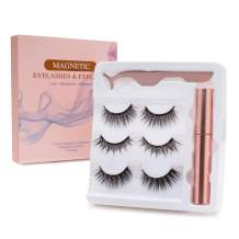 Magnetic Eyelashes and Magnetic Eyeliner Kit with Tweezer, Reusable 3D Magnetic Eyelashes 6pcs, Waterproof Magnetic Eyeliner Liquid