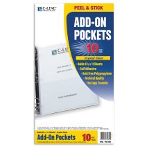 C-Line Self-Adhesive Add-On Filing Pockets, 8-3/4 x 5-1/8, 10 per Pack (70185)