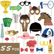 55PCS Kentucky Derby Photo Booth Props Party Supplies Horse Racing Decorations