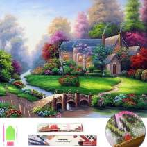 Large 5D Diamond Painting Kit for Adults Full Square Drill Embroidery Cross Stitch Crystal Rhinestone Mosaic Making Home Decor Christmas Gift Spring Landscape Cottage Art Craft (Summer Scenery)