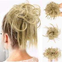 FORCUTEU Tousled Updo Messy Bun Hair Piece Hair Extension Ponytail With Elastic Rubber Band Updo Extensions Hairpiece Synthetic Hair Extensions Scrunchies Ponytail Hairpiece for Women(Color:86/10#)