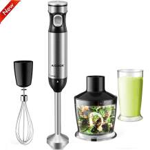 AICOOK Immersion Blender 4 in 1 Hand Blender(BPA-Free), Smart Stepless All Speed Control Heavy Duty Copper Motor Brushed Stainless Steel, Including Beaker, Whisk Attachments, Titanium Coating Blade