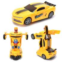WonderPlay Transforming Toys Bumble Bee Car for Kids, Auto Transforming Auto Robots Action Figure and Toy Vehicles, Realistic Engine Sounds, Beautiful Flash Lights