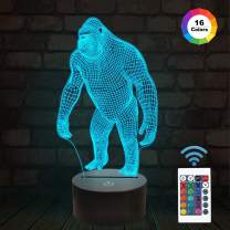 3D Night Light Ape Gorilla LED Nightlight Baby Nursery Monkey Lamp for Kids' Room Home Décor Xmas Birthday Gifts with 16 Color Changing