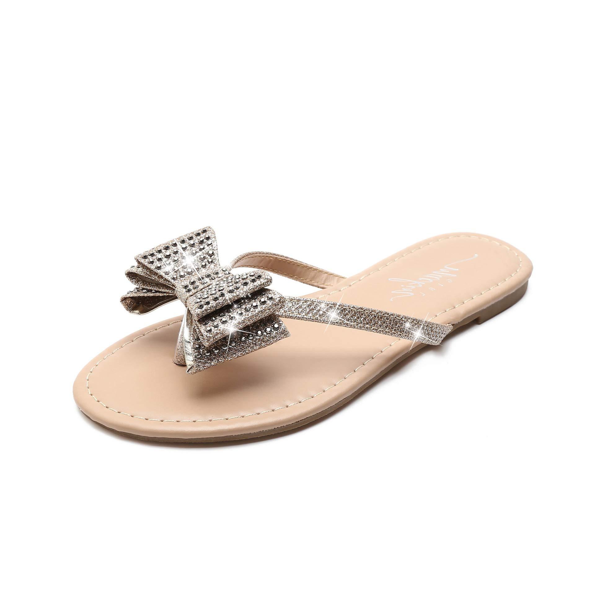 MACKIN J G504-1 Women's Flip Flops Rhinestones Bow Thong Flat Dress Sandals