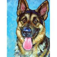 SKRYUIE 5D Full Drill Diamond Painting German Shepherd Animals by Number Kits, Paint with Diamonds Arts Embroidery DIY Craft Set Arts Decorations (12x16 inch)