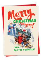 Greetings to Everyone - Vintage Merry Christmas Note Card with Envelope (4.63 x 6.75 Inch) - Adult Humor, Sledding Xmas Note Card - Funny Happy Holidays and Season's Greetings Card C6686XSG