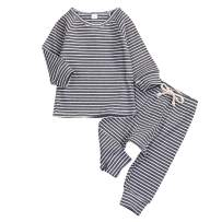 Kids Toddler Baby Girl Boys Pajamas Outfits Stripe Long Sleeve T-Shirt Tops + Pants Sleepwear Spring Clothes Sets