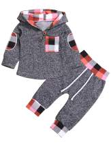Toddler Infant Baby Boys Girls Stylish Plaid Floral Pocket Hooded Sweatshirt Coat, Kids Jackets Tops +Pants Outfit Sets