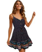 LANISEN Womens Summer Casual Floral Spaghetti Strap V Neck Boho Button Backless Mini Swing Dress