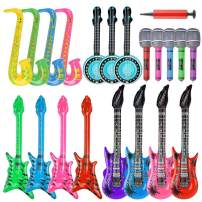 20 Pieces Inflatable Guitar Toys Set, Inflatable Electric Guitar Saxophone Microphone Pipa Toy for 80's 90's Themed Party ,kids Birthday Decor,Coachella Valley Music Festival,Karaoke Party,Rock and Roll Party Favors