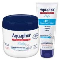 Aquaphor Baby Skin Care Set - Fragrance Free, Prevents, Soothes and Treats Diaper Rash - Includes 14 oz. Jar of Advanced Healing Ointment & 3.5 oz Tube of Diaper Rash Cream