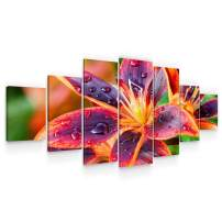 Startonight Huge Canvas Wall Art Multicolored Lily Flower - Large Framed Set of 7 40 x 95 Inches