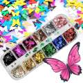 Butterfly Glitter Nail Sequins,3D Nail Art Flakes Colorful Confetti Glitter Sticker,Nail Art Design Makeup DIY Decoration Kit,Nail Sequins for Face Body Eye Hair Nail Art Powder-12 colors