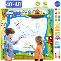 OKBONN Aqua Magic Mat,Water Drawing Mat Extra Large Doodle mat, Educational Toys Gifts for Kids Age 2+,Drawing Set with Non-Toxic Water Pens for Toddlers 40×40 inch
