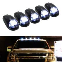 iJDMTOY 5pcs White LED Cab Roof Top Marker Running Lights Compatible With Truck SUV 4x4 (Black Smoked Lens Lamps)