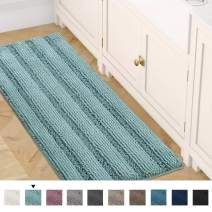 "Bath Rug Runner 47"" x 17"" Bathroom Rug Bath Mat Non-Slip Striped Luxury Chenille Large Bathroom Rug Mat Extra Soft and Absorbent Shaggy Rugs for Indoor Floor Machine Washable, Eggshell Blue"