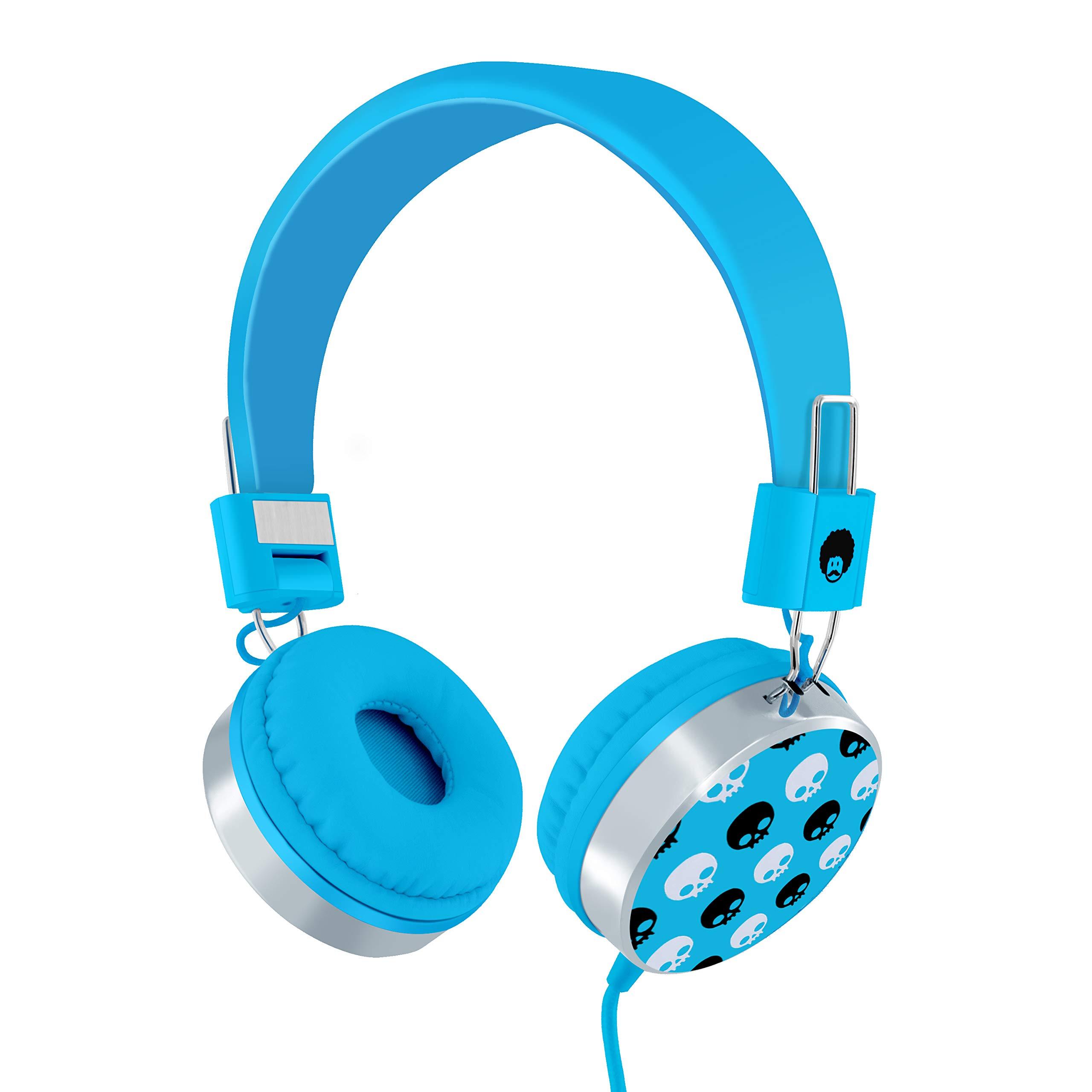 Rockpapa Skull On Ear Wired Headphones Earphones Foldable, Adjustable Headband for Kids Child Toddler Teens Age 3-15, iPod iPad Tablet Laptop Smartphone Mp3 Switch Blue