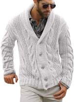 Gafeng Mens Cardigan Sweaters V Neck Casual Winter Thick Button up Thermal Contrast Color Chunky Knitwear