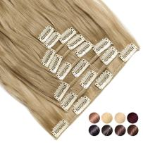"""[PROMO] Long Straight Curly Wavy Full Head Clip in Hair Extension 8 Pcs 18 Clips Real Thick Heat Resistance Synthetic Hairpiece for Women Girls Black Brown Blonde (Ash Blonde2, 17""""-Curly)"""
