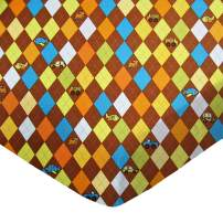 SheetWorld Fitted Portable / Mini Crib Sheet - Argyle Brown Transport - Made In USA