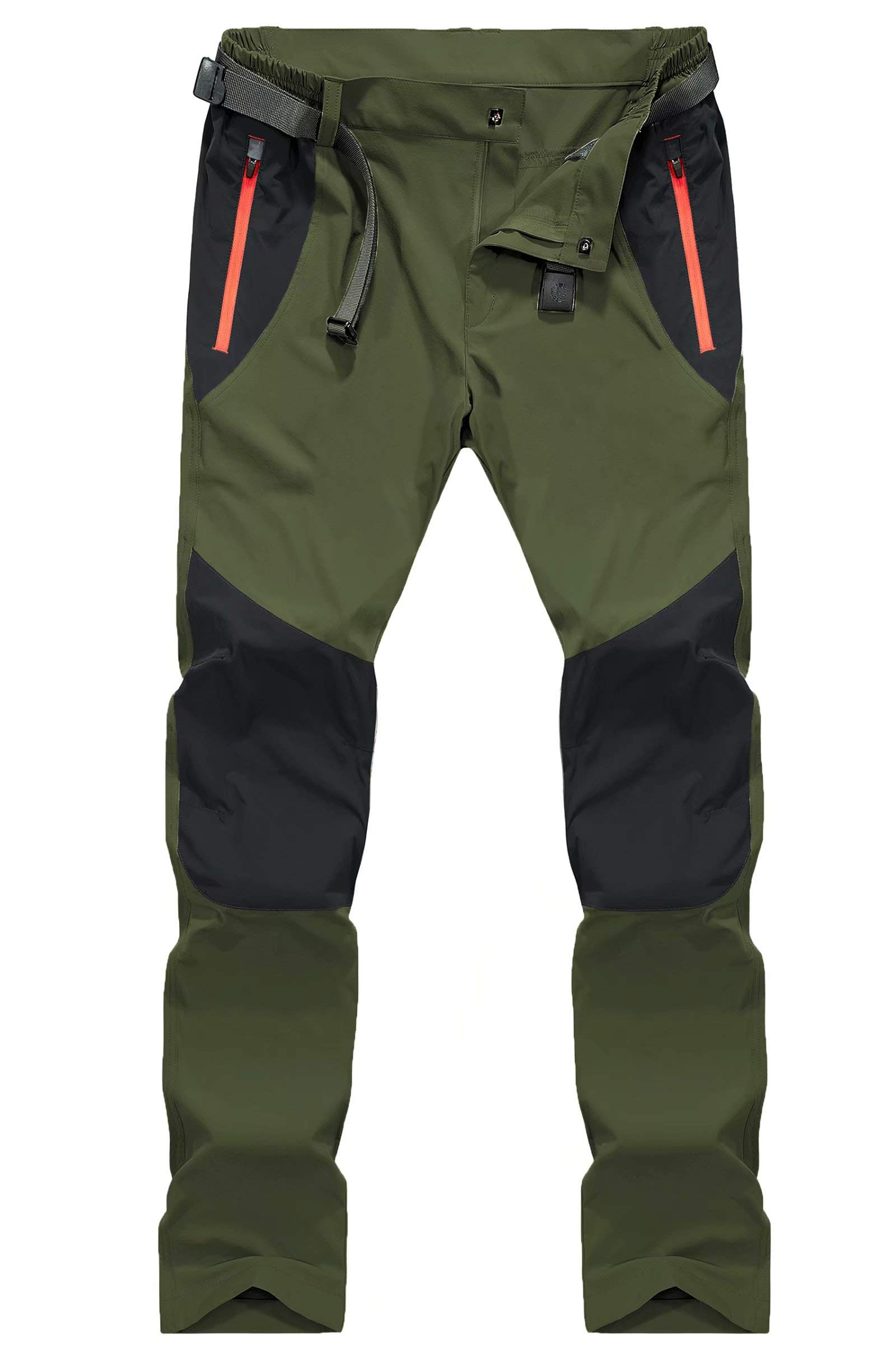 MAGCOMSEN Men's Hiking Pants with Zipper Pockets Quick Dry Elastic Waist Lightweight Fishing Work Pants