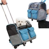 Pettom Pet Rolling Carrier Backpack Dog Wheel Around Cat Luggage BagPet Travel Carrier