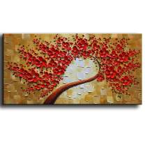 "YaSheng Art - 100% Hand painted Contemporary Art Oil painting On Canvas Texture Red 3D Flowers Paintings Modern Home Decor Wall Art Paintings Ready to Hang 24""x48""inch"