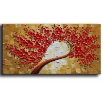 """YaSheng Art - 100% Hand painted Contemporary Art Oil painting On Canvas Texture Red 3D Flowers Paintings Modern Home Decor Wall Art Paintings Ready to Hang 24""""x48""""inch"""