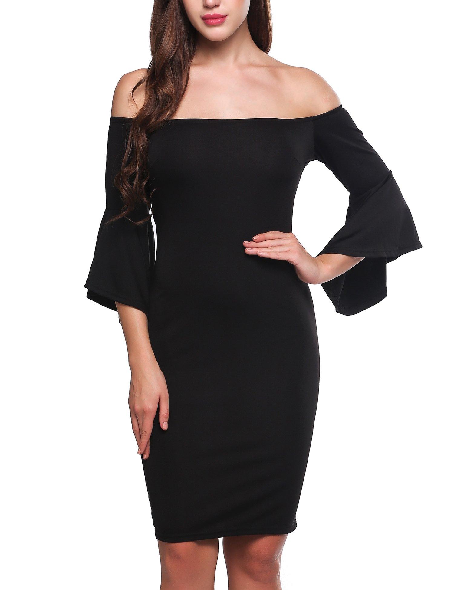Meaneor Women's Ruffle Bell Sleeve Off The Shoulder Split Bodycon Midi Dress