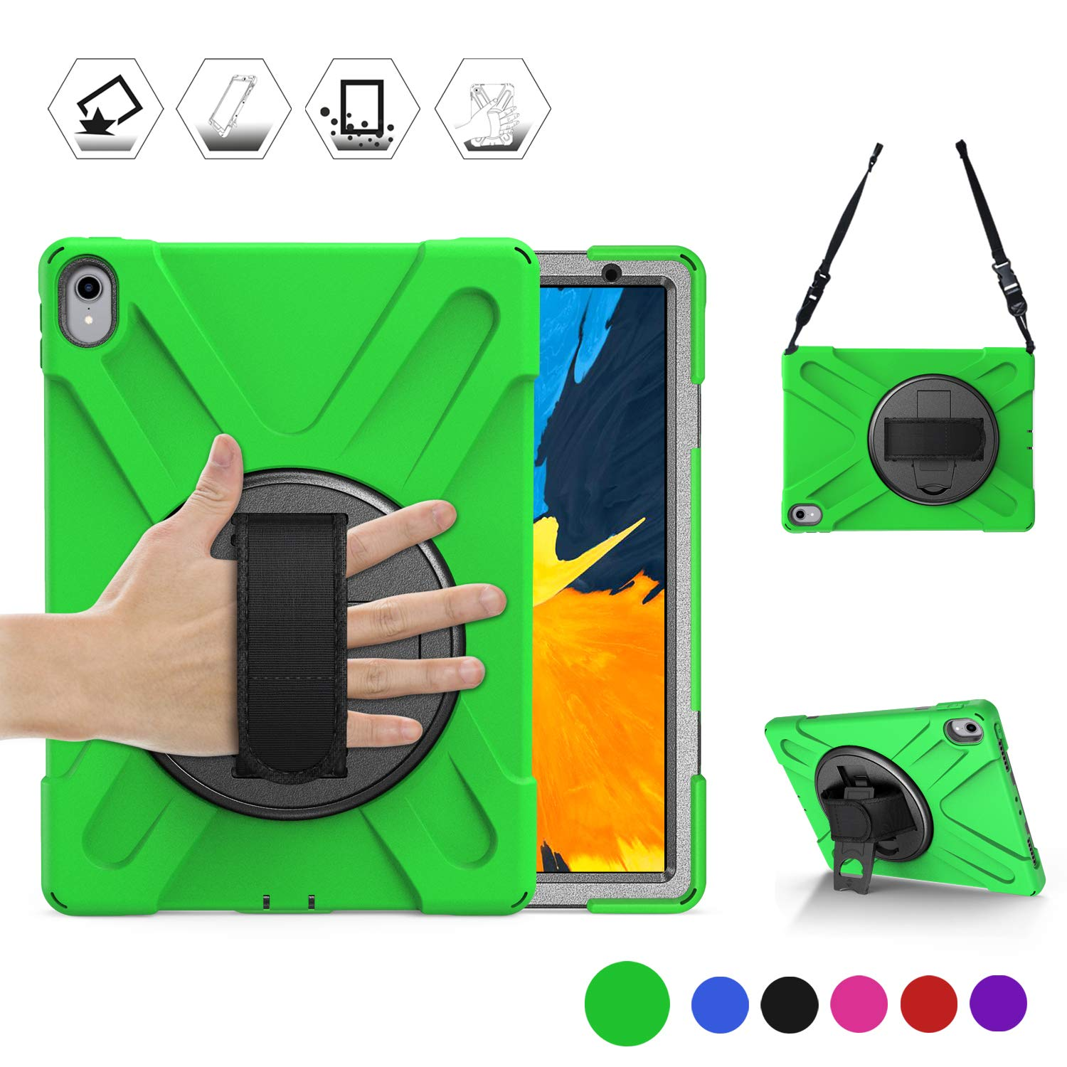 BRAECN iPad Pro 11 Inch 2018 Case, [Not Support iPad Pencil Magnetically Charge/Pair] Hybrid Protection Shockproof Case with Handle Hand Strap, Kickstand& Shoulder Strap for iPad Pro 11 Tablet(Green)