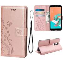 Wallet Case for Asus Zenfone 5Q ZC600KL, 3 Card Holder Embossed Butterfly Flower PU Leather Magnetic Flip Cover for Asus Zenfone 5Q ZC600KL(Rose Gold)