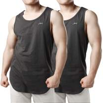 JOGAL Men's 2 Pack Workout Muscle Tank Sleeveless Racer Y-Back Gym Top