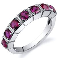 Created Ruby Band Ring Sterling Silver Rhodium Nickel Finish 1.75 Carats Sizes 5 to 9