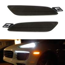 iJDMTOY Euro Smoked Lens Amber Full LED Bumper Side Marker Light Kit Compatible With 2015-2019 Porsche Cayenne, Powered by 40-SMD LED, Replace OEM Front Sidemarker Lamps