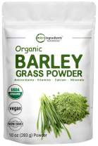 Sustainably US Grown, Organic Barley Grass Powder, 10 Ounce, Rich in Immune Vitamin, Fibers, Minerals, Antioxidants and Protein, Support Immune System and Digestion Function, Vegan Friendly