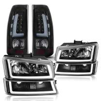 AUTOSAVER88 Headlight and Tail Light Assemblies Compatible with 2003 2004 2005 2006 Chevy Silverado 1500 2500 3500/2007 Chevrolet Silverado Classic Pickup, Black Housing Headlamps and Tail Lamps Set