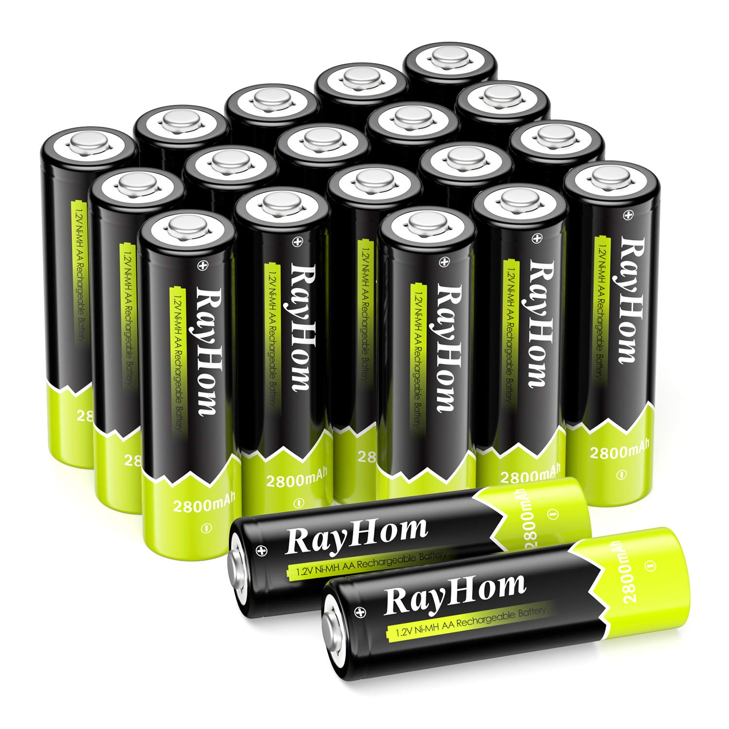 RayHom AA Rechargeable Battery 1.2 V 2800mAh Ni-MH AA Pre-Charged Batteries 20 Pack