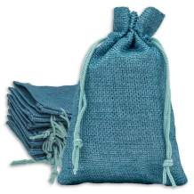 12-Pack 5.5x7.75 Natural Linen Burlap Bags w. Drawstring (Teal Blue, Medium) for Party Favors, Gifts, Christmas Presents or DIY Craft by TheDisplayGuys