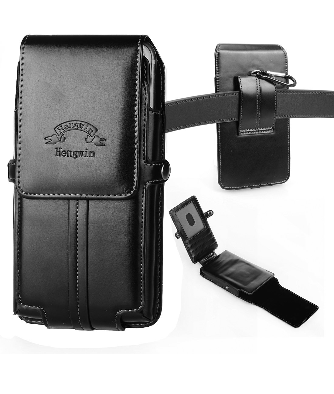 Hengwin Phone Holster, Vertical High Grade Smooth PU Leather Holster Belt Clip Pouch Carrying Case with Card Slots Compatible with iPhone Xs Max 8 7 Plus Galaxy Note 9 8 5 S9 S8 Plus Keychain
