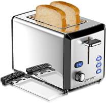 2 Slice Toaster, LOFTer Prime Rated Toasters with LED Display, Mirror Stainless Steel Body and Extra Wide Slots with 6 Shade Settings, Removable Crumb Tray, Defrost/Reheat/Cancel Function, 800W