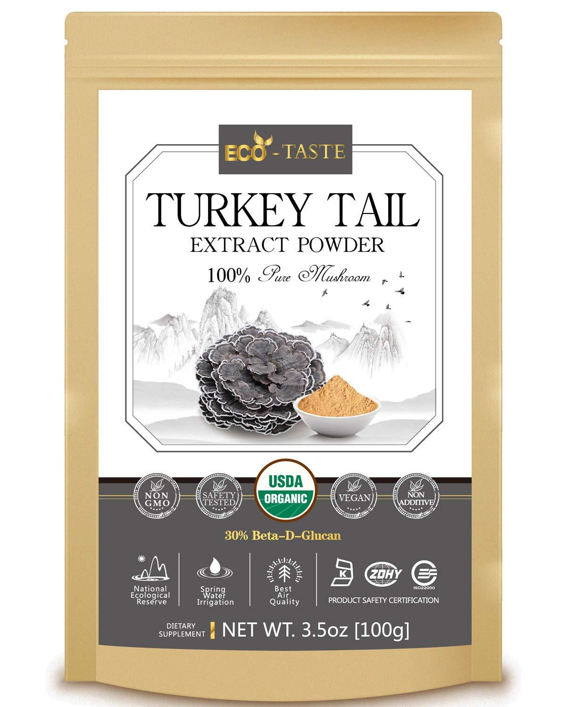 Turkey Tail Mushroom Extract Powder 5:1,USDA Organic, 30% Beta-D-Glucan Supplement, 3.5oz