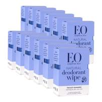 EO Organic Biodegradable Deodorant Wipes, Refresh On The Go, Lavender, 6 Count (Pack of 12)