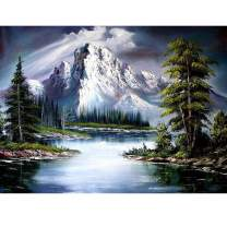 5D Diamond Painting Snowy Mountain Lakeside Tree Scenery Full Drill by Number Kits, SKRYUIE DIY Rhinestone Pasted Paint with Diamond Set Arts Craft Decorations (12x16inch)