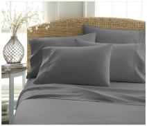 Becky Cameron ienjoy Home 6 Piece Double Brushed Microfiber Bed Sheet Set, Full, Gray