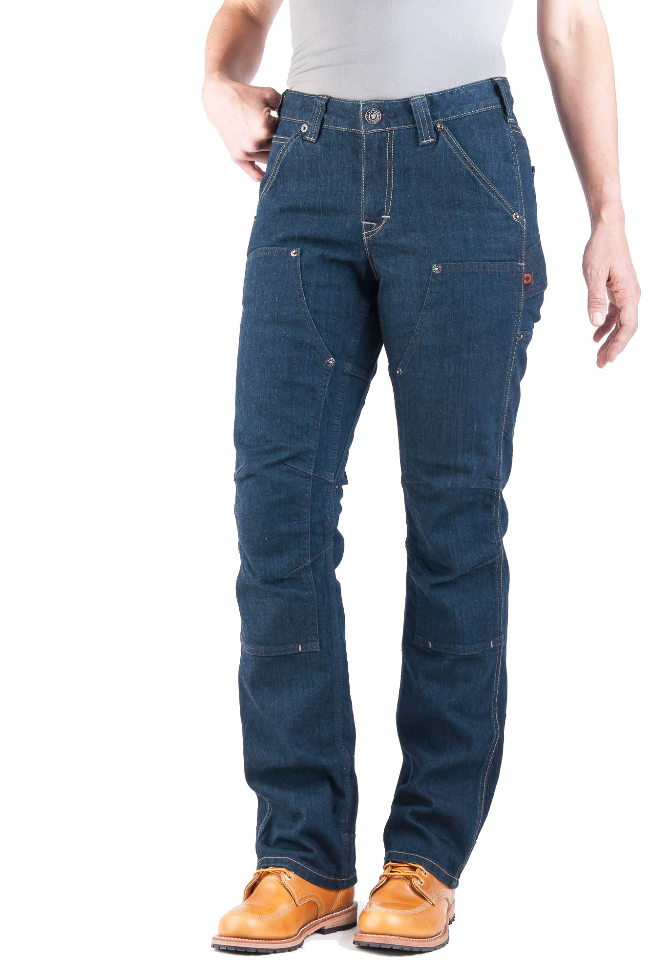 Dovetail Workwear Utility Pants for Women - Britt Utility Straight Fit Stretch Cargo Pant - Available in Denim or Canvas