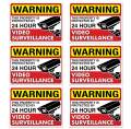 """(Set of 6) 24 HR Video Surveillance Sign - 3"""" x 4"""" - 4 Mil Vinyl - Laminated for Ultimate Protection & Durability - Self Adhesive Decal - UV Protected & Weatherproof - Heavy Duty"""