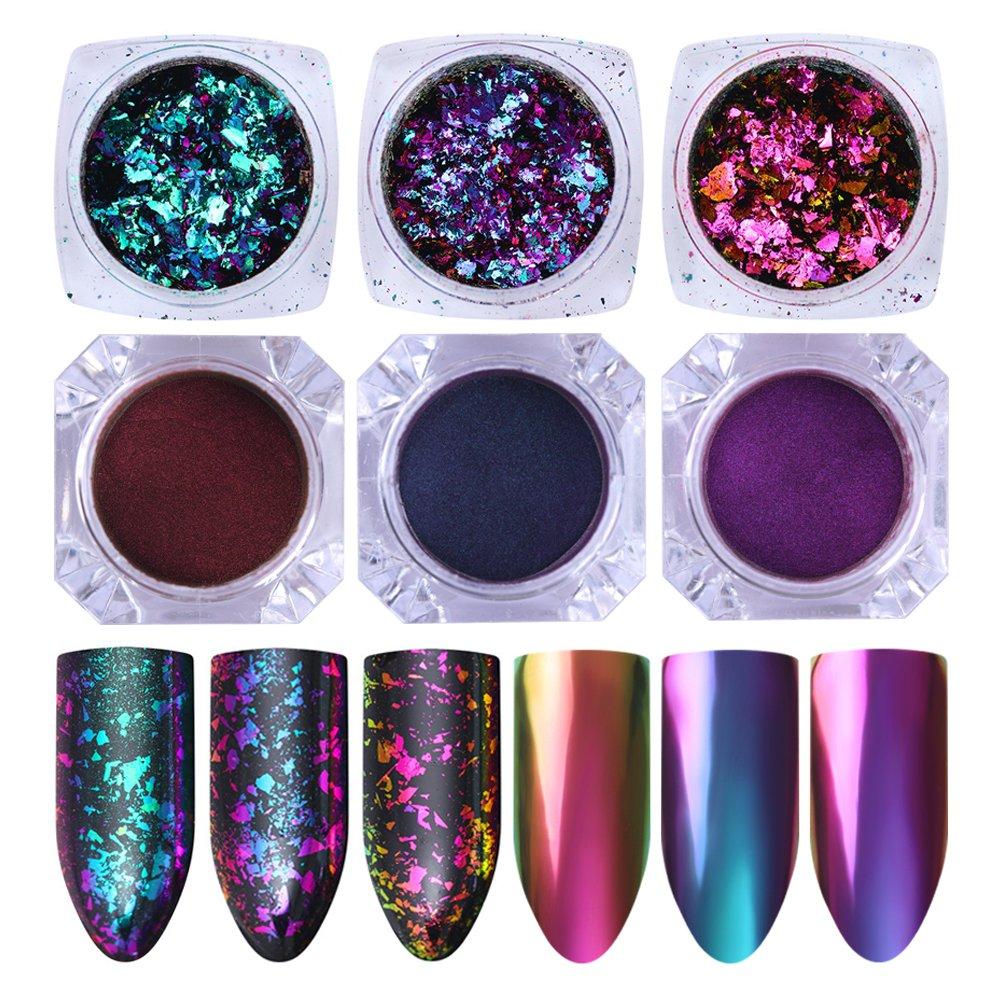 NICOLE DIARY Chameleon Nail Glitter Powder Kit - 3 Boxes Chameleon Powder Chrome Pigment + 3 Boxes Colorful Iridescent Flakes Sequins Glitter Paillette